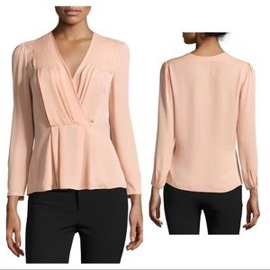 NEW Rebecca Taylor nude georgette wrap top